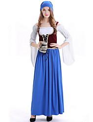 cheap -Oktoberfest Beer Dirndl Trachtenkleider Women's Dress Bavarian Costume Blue