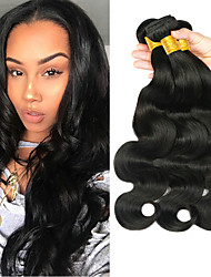 cheap -3 Bundles Brazilian Hair Body Wave Virgin Human Hair 100% Remy Hair Weave Bundles Bundle Hair Human Hair Extensions Hair Weft with Closure 8-28 inch Natural Color Human Hair Weaves Party Easy to