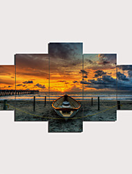 cheap -Print Stretched Canvas Prints - Landscape Nautical Traditional Modern Five Panels Art Prints