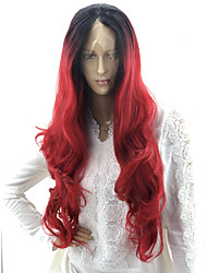 cheap -Wavy Body Wave Asymmetrical Lace Front Wig Pink Very Long Black / Red Synthetic Hair 24 inch Women's Party Synthetic Color Gradient Black Pink