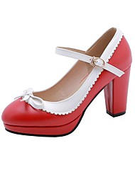cheap -Women's Heels Chunky Heel Round Toe Bowknot Faux Leather Casual / Sweet Walking Shoes Fall / Spring & Summer Black / White / Red / Daily / 3-4