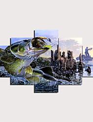 cheap -Print Stretched Canvas Prints - Landscape Animals Traditional Modern Five Panels Art Prints