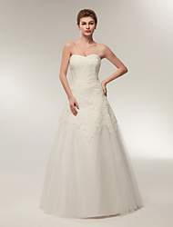 cheap -A-Line Wedding Dresses Strapless Floor Length Lace Tulle Strapless Formal Illusion Detail with Appliques 2020