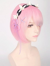 cheap -Synthetic Wig Straight With Bangs Wig Pink Short Pink / Purple Sky Blue Synthetic Hair 30 inch Women's Women Blue Pink