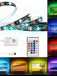 cheap -BRELONG LED Light Strips RGB Tiktok Lights TV Backlight Flexible Multi-Color IP65 Epoxy Waterproof With Infrared Controller 24Keys Remote Halloween Decoration TV Computer Background Lighting 2M 60LED