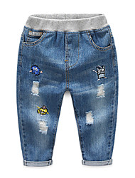 cheap -Kids Boys' Basic Street chic Solid Colored Hole Ripped Patchwork Cotton Jeans Blue