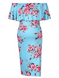 cheap -Women's Maternity Boho Street chic Midi A Line Bodycon Shift Dress - Floral Geometric Patchwork Print Navy Blue Wine Royal Blue M L XL