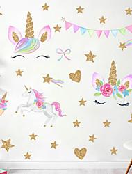 cheap -Rainbow Star Cute Unicorn Wall Stickers - Words & Quotes Wall Stickers / Plane Wall Stickers Characters Study Room / Office / Dining Room / Kitchen 60*40cm