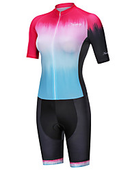cheap -Nuckily Women's Triathlon Tri Suit Red+Blue Gradient Bike Breathable Sports Spandex Gradient Mountain Bike MTB Road Bike Cycling Clothing Apparel / Micro-elastic / SBS Zipper