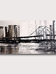 cheap -Hand Painted Stretched Oil Painting Canvas Ready to hang Abstract  Style Material High Quantity Wall Art Modern Cityscape Bridge