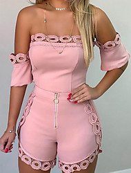 cheap -Women's Black White Blushing Pink Romper Onesie, Solid Colored Lace / Fashion / Off Shoulder S M L Spring Summer Fall / Winter