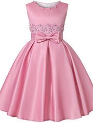 cheap -Kids Toddler Girls' Basic Sweet Floral Bow Sleeveless Knee-length Dress Gold / Cotton
