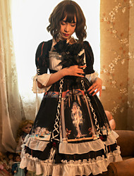 cheap -Artistic / Retro Gothic Elegant Dress Cosplay Costume Halloween Props Party Costume All Cotton Japanese Cosplay Costumes Black Print Black & White Bowknot Bishop Sleeve Half Sleeve Knee Length Medium
