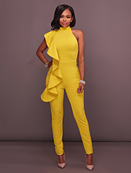 cheap -Women's Basic White Black Yellow Jumpsuit Solid Colored Backless