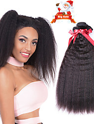 cheap -6 Bundles Indian Hair kinky Straight 100% Remy Hair Weave Bundles Natural Color Hair Weaves / Hair Bulk Bundle Hair One Pack Solution 8-28 inch Natural Color Human Hair Weaves New Arrival Hot Sale