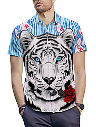 cheap -Men's Shirt - 3D / Animal / Cartoon Print Light Blue