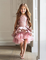 cheap -A-Line Knee Length Flower Girl Dress - Cotton / Tulle Sleeveless Jewel Neck with Beading / Lace / Paillette