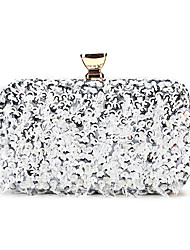 cheap -Women's Bags Polyester Alloy Evening Bag Beading Sequin Wedding Party Event / Party Champagne Silver