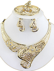 cheap -Women's Gold Bridal Jewelry Sets Link / Chain Flower Vintage Earrings Jewelry Gold For Wedding Gift Engagement 1 set