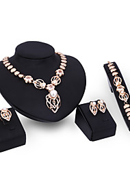 cheap -Women's Stud Earrings Pendant Necklace Bracelet Cut Out Precious Stylish Unique Design Imitation Pearl Gold Plated Earrings Jewelry Gold For Party Street 1 set / Ring