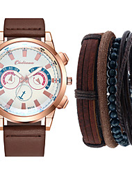 cheap -Men's Sport Watch Quartz Gift Set Leather Black / Blue / Brown No Chronograph Cute Casual Watch Analog New Arrival Fashion - Black Blue Green One Year Battery Life / Large Dial