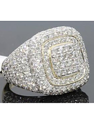 cheap -Men's Ring Cubic Zirconia 1pc Gold Copper Square Stylish Iced Out Party Daily Jewelry Classic Joy Cool