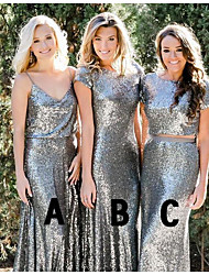 cheap -Mermaid / Trumpet Jewel Neck / Straps Floor Length Sequined Bridesmaid Dress with Sequin / Sparkle & Shine