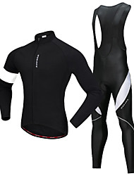 cheap -WOSAWE Men's Long Sleeve Cycling Jersey with Bib Tights Winter Fleece Polyester Silicone Black / White Bike Clothing Suit Fleece Lining 3D Pad Reflective Strips Sports Solid Color Mountain Bike MTB