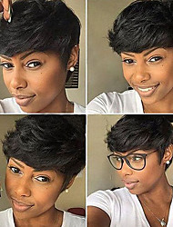 cheap -Human Hair Wig Short Curly Natural Wave Pixie Cut Layered Haircut Asymmetrical Black Odor Free Fashionable Design Adjustable Capless Women's All Natural Black 8 inch / Natural Hairline