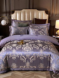cheap -Duvet Cover Sets Solid Colored Cotton Jacquard 4 PieceBedding Sets