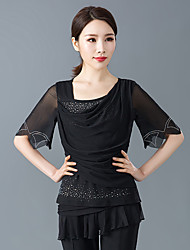cheap -Ballroom Dance Tops Women's Training / Performance Polyester / Elastic / Crystal Cotton Beading / Tiered Half Sleeve Top