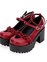 cheap -Women's Lolita Shoes Punk Gothic Wedge Heel Shoes Solid Colored 8 cm Black Brown White PU Leather Halloween Costumes