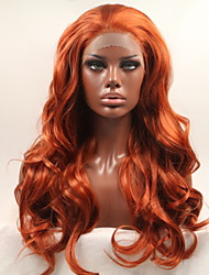 cheap -Synthetic Lace Front Wig Curly Matte Layered Haircut Lace Front Wig Long Orange Synthetic Hair 24 inch Women's Normal Women Hot Sale Red Sylvia