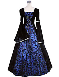 cheap -Princess Maria Antonietta Floral Style Rococo Victorian Renaissance Dress Party Costume Masquerade Women's Lace Costume Navy Blue Vintage Cosplay Christmas Halloween Party / Evening 3/4 Length Sleeve