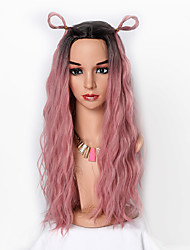 cheap -Synthetic Wig Wavy Jenifer Middle Part Wig Ombre Long Black / Pink Synthetic Hair 26 inch Women's Fashionable Design Soft New Design Ombre