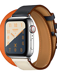 cheap -Genuine Leather Double Tour Band for Apple Watch Series 4 3 2 1 Leather Belt bracelet wrist belt watchband for iwatch series 42mm 38mm 40mm 44mm Watchband Replacement