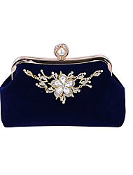cheap -Women's Bags Polyester Velvet Evening Bag Glitter Crystals Solid Color Party Event / Party Date Black Blue Purple Red
