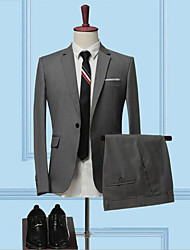 cheap -Black / Dark Navy / Light Grey Solid Colored Standard Fit Cotton Suit - Notch Single Breasted One-button