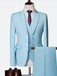 cheap -Sky Blue / Ruby / Royal Blue Solid Colored Slim Fit Nylon / Chinlon Suit - Notch Single Breasted Two-buttons