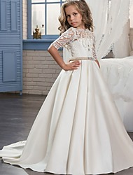 cheap -Ball Gown Sweep / Brush Train Flower Girl Dress - Matte Satin Half Sleeve Jewel Neck with Embroidery / Bandage
