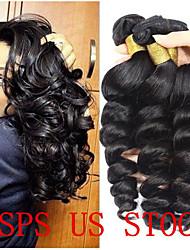 Недорогие -4 Связки Бразильские волосы Свободные волны человеческие волосы Remy 200 g Человека ткет Волосы Пучок волос Накладки из натуральных волос 8-28 дюймовый Естественный цвет Ткет человеческих волос