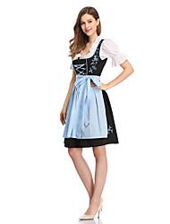 cheap -Oktoberfest Beer Dirndl Trachtenkleider Women's Blouse Dress Apron Bavarian Costume Black