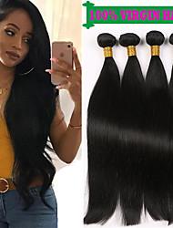 cheap -4 Bundles Brazilian Hair Straight 100% Remy Hair Weave Bundles Natural Color Hair Weaves / Hair Bulk Bundle Hair Human Hair Extensions 8-28 inch Natural Color Human Hair Weaves Odor Free Smooth Cool