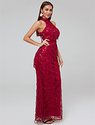 cheap -Sheath / Column Sparkle Red Party Wear Formal Evening Dress Halter Neck Sleeveless Floor Length Tulle Sequined with Sequin Tassel 2020