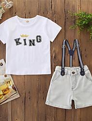 cheap -Baby Boys' Active Basic Print Print Short Sleeve Regular Clothing Set White / Toddler