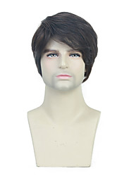 cheap -Synthetic Wig Toupees Weave Straight Natural Straight Pixie Cut Wig Short Chestnut Brown Synthetic Hair 10 inch Men's Simple Fashionable Design Synthetic Brown / African American Wig