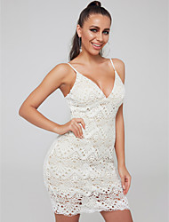 cheap -Sheath / Column Sexy Cocktail Party Dress Spaghetti Strap Sleeveless Short / Mini Lace with Lace Insert 2020