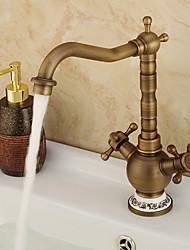cheap -Art Deco Kitchen Faucet - Two Handles One Hole Antique Copper Standard Spout Centerset Contemporary / Antique Water Taps