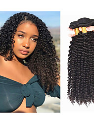 cheap -4 Bundles Brazilian Hair Kinky Curly Remy Human Hair Natural Color Hair Weaves / Hair Bulk Bundle Hair Human Hair Extensions 8-28inch Natural Color Human Hair Weaves Gift Thick 100% Virgin Human Hair