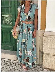 Недорогие -Жен. Хлопок Тонкие Оболочка Платье V-образный вырез Макси